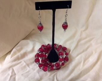 Red Beaded Bracelet/Earring Set