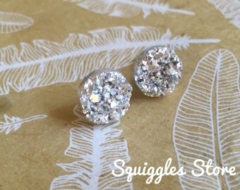 Sparkling Silver Faux Druzy Stud Earrings with Titanium Posts 12mm - Sensitive Ears