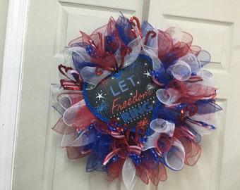 Ready to Ship. Patriotic Wreath-  4th of July Wreath, Handmade, Deco Mesh Patriotic Wreath,Veterans & Memorial Day Wreath