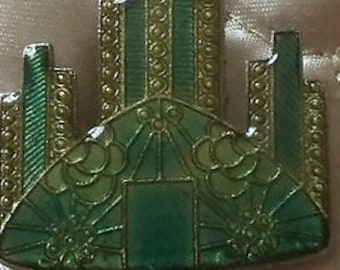 Art Deco Vintage Small Brooch of a tall building in green - painted on enamel