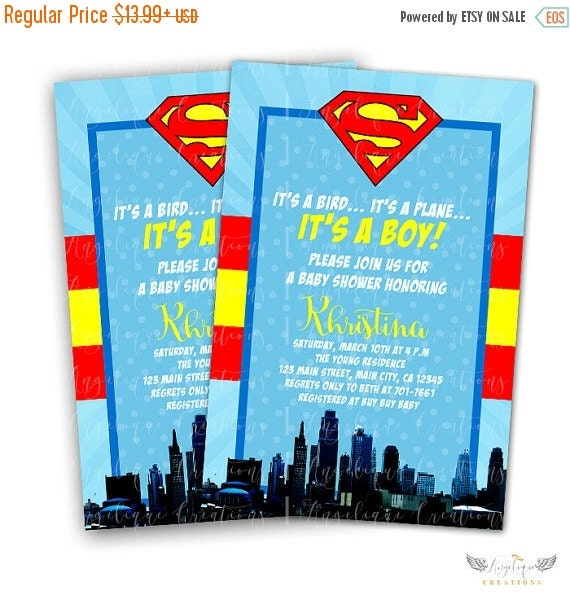 ON SALE Superman Inspired, Superhero Baby Shower Invitations & Blank Thank You Card to match
