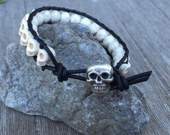 Wrap Beaded Bracelet with Skulls