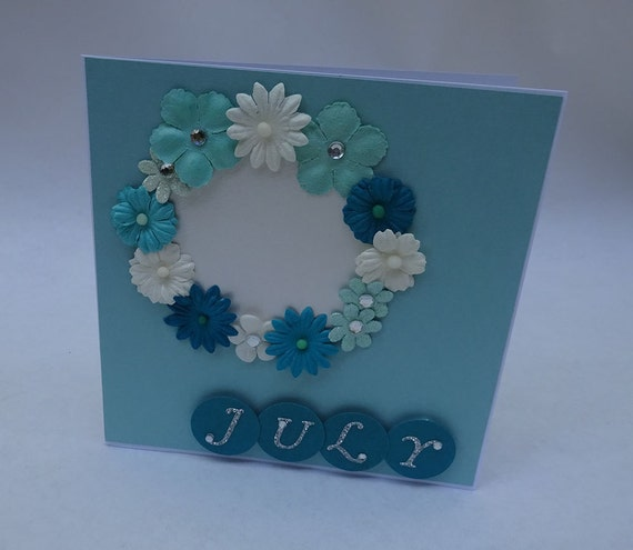Greeting Cards - Handmade July Monthly Card with Flowers