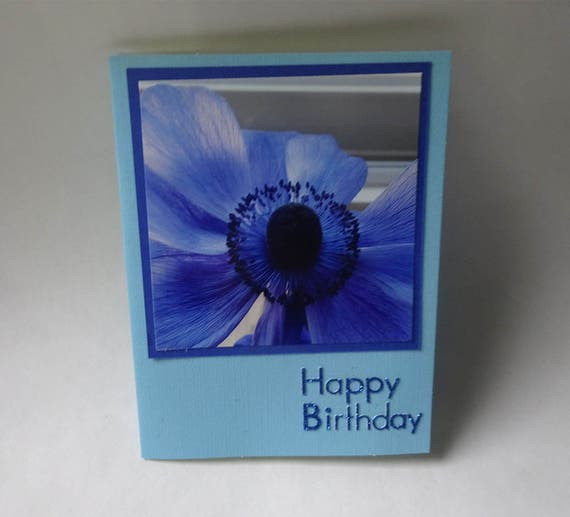 Birthday Card with Blue Anemone Flower - #1269