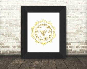 Solar Plexus Chakra - Manipura 3rd Chakra Typography Printable Art