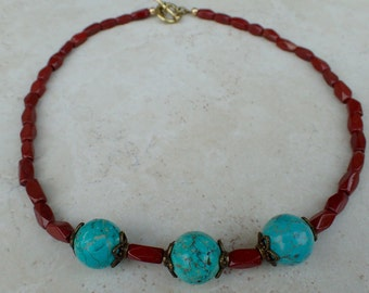 Turquoise and Red Jasper Gemstone Beaded Necklace