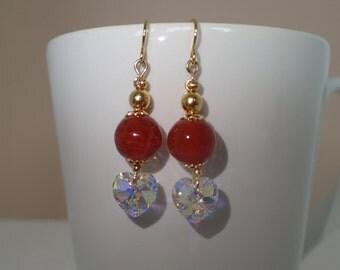 Red Agate Gemstone Swarovski Crystal Heart Beaded Earrings