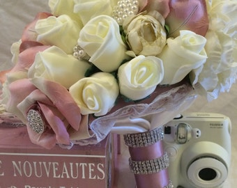 Pink and Cream Brooch Bouquet