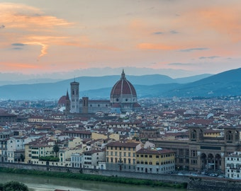Digital Download of 'Florence Sunset Photo'. Fine art photography, canvas photo, travel photography