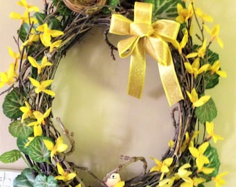 Yellow Forsythia woven twig wreath