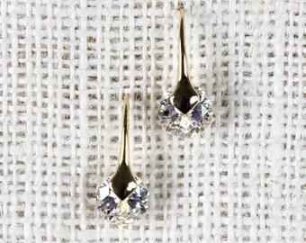 Crystal Drop Earrings - Silver