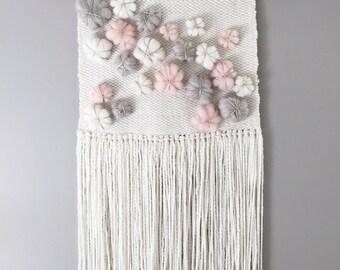 Woven Wall Weaving / READY TO SHIP/ Wall Hanging / Blush Pink Grey Cream White Neutral / Nursery Art / Home Decor / Boho / Wall Art /