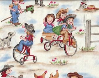 Cowboy on saw horse,Bike,Michael Miller fabrics