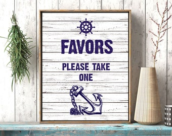 SALE 70% Favors printable nautical wedding sign. Beach wedding. Navy blue and white wood wedding sign, anchor and ship wheel. Digital