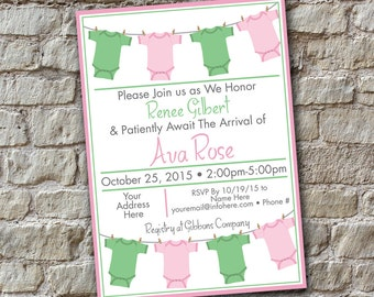 Baby Onsie Baby Shower Invite
