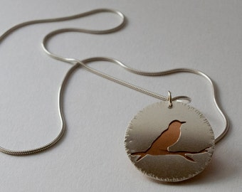Silver and copper bird necklace