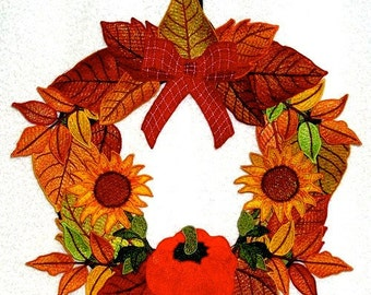 "Autumn Splendor Wreath Project  ( ""Free Standing Applique"" Machine Embroidery Project from ATW  )"