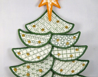 "Applique Christmas Tree Project  ( ""Free-Standing Applique"" Machine Embroidery Designs / Project from ATW )"