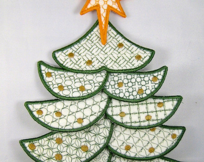 """Applique Christmas Tree Project  ( """"Free-Standing Applique"""" Machine Embroidery Designs / Project from ATW )"""