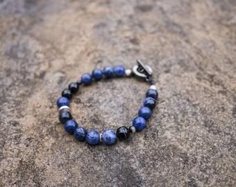 Blue Sodalite Crystal Beaded Bracelet + FREE Guatemalan Band