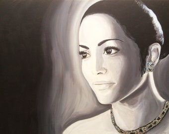 Jennifer Lopez (painting, 0.80 x 0.60 m, inch 31.49 x 23,62 - acrylic of on canvas)