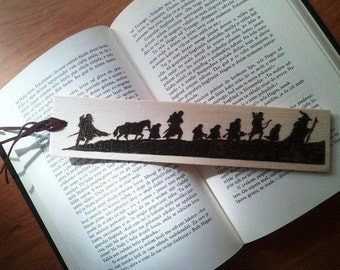 The Lord of the Rings inspired Fellowship wooden bookmark, pokerwork made
