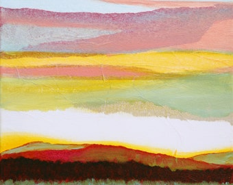 Original abstract landscape collage oil painting Abstract Landscape #1 Mixed media on canvas 30*30 cm artwork hand made by me in my studio