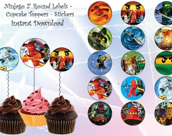 INSTANT DL- Ninjago cupcake toppers , Ninago party, Cups - Ninjago birthday - Instant download