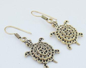 Tortoise earrings | Dangle earrings | Brass jewelry earring | Dangle and Drop earrings | Indian gift jewelry | Ethnic oxidize earring | E49