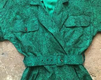 80's Green Abstract Print Belted Safari Dress
