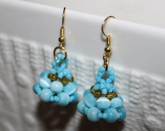 Aqua-beaded handmade earrings; beadweaving