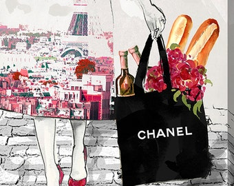 """Grocery in Paris- COCO Chanel - Stretched Canvas Print - Wood Frame - BY Jodi """"Dinner For Two"""" Giclee Print Canvas Wall Art"""