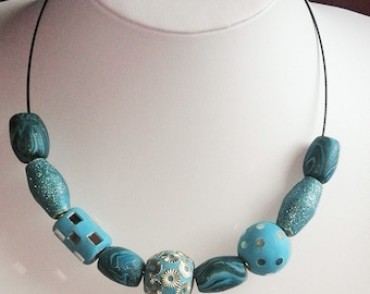 Turquoise handmade polymer clay bead necklace