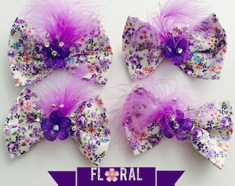 Floral Feathers Bow w/Headband