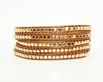 Gold Beads on Tan Leather - Wrap Bracelet