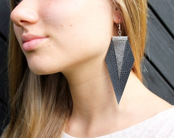 Black and silver leather earrings, two leather earrings