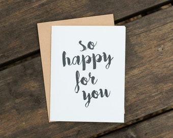 So Happy For You Letterpress Card