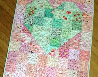Scrappy Patchwork Heart Baby Quilt