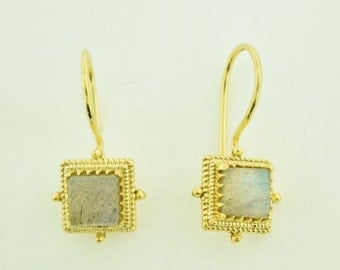 Labradorite Earrings 18 Karat Gold plated in Sterling silver