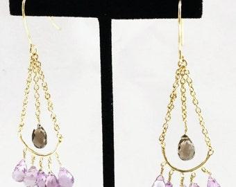 Amethyst Topaz in Gold Filled Earrings