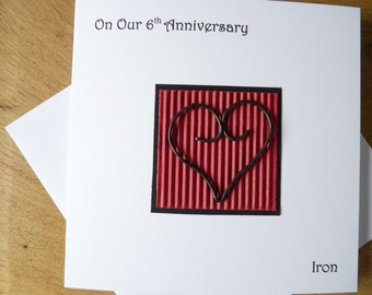 6th wedding anniversary card iron sixth anniversary gift