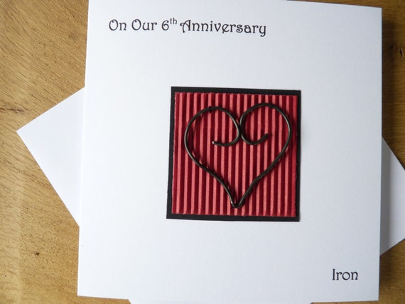 Sixth Wedding Anniversary Gift: 6th Wedding Anniversary Card Iron Sixth Anniversary Gift
