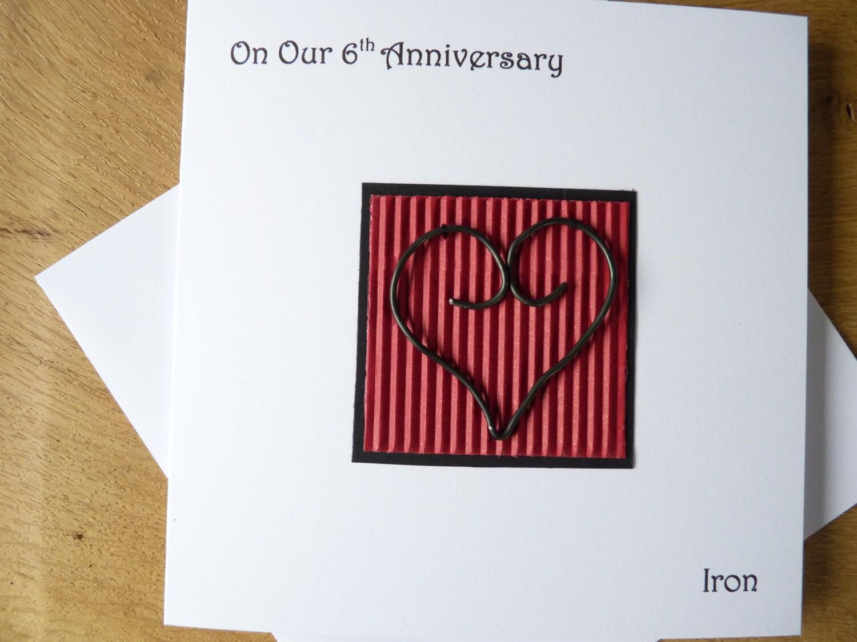 6th Year Wedding Anniversary Gift: 6th Wedding Anniversary Card Iron Sixth Anniversary Gift