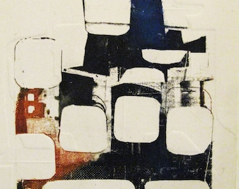 Cityscape I. Giclee print made from original photoetching and collograph print. Digital print. City. Abstract.