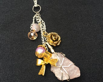 Rose Quartz Wrapped Charm Necklace