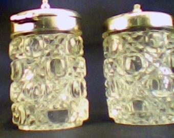 Moulded Glass Diamond-Cut Pattern Salt and Pepper Shaker Set