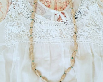 Fabric and beaded necklace