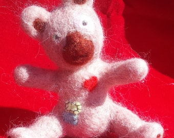 Patches The Teddy Bear, Needle felted, Handmade, Soft sculpture