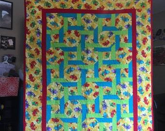 Handmade dinasour quilt, custom baby quilt, crib quilt