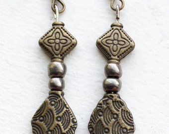 Copper and Pewter Dangle Earrings
